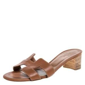 Hermes Brown Leather Oasis Slide Sandals Size 36