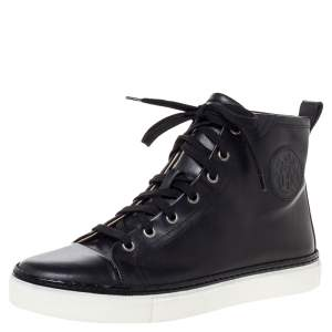 Hermès Black Leather Jimmy Lace Up High Top Sneakers Size 38