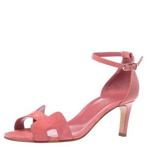 Hermes Pink Suede Leather Highlight  Ankle Strap Sandals Size 38.5