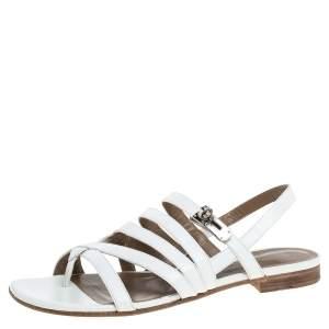 صندل هيرمس فلات سيور مارين جلد أبيض مقاس 38.5