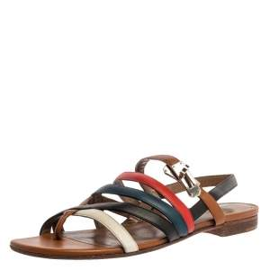 Hermes Multicolor Leather Marine Strappy Flat Sandals Size 39