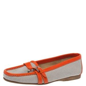 Hermes Beige/Orange Canvas and Leather Loafers Size 39.5