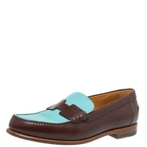 Hermes Blue/Brown Leather Kennedy Slip On Loafers Size 39