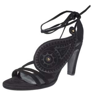 Hermes Black Suede Leather Ankle Wrap Sandals Size 38.5