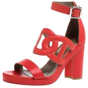 Hermes Red Leather Block Heels Ankle Strap Sandals Size 39