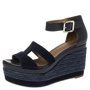 Hermes Indigo Leather and Suede Ilana Espadrille Wedges Sandals Size 36