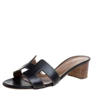 Hermès Black Leather Oran Sandals Size 35.5