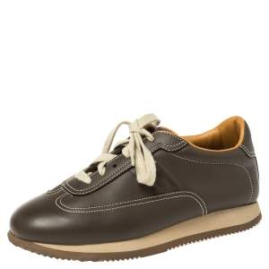 Hermes Brown Leather Lace Up Low Top Sneakers Size 40.2