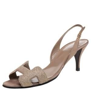 Hermes Beige Suede Night Crystal Powder Ankle Strap Sandals Size 38