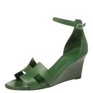 Hermès Green Leather Legend Wedge Sandals Size 40