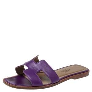 Hermes Purple Leather Oran Flat Slides Size 34