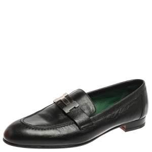 Hermès Black Leather Paris Loafers Size 37.5