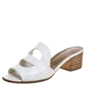 Hermes White Leather Mona Sandals Size 37.5