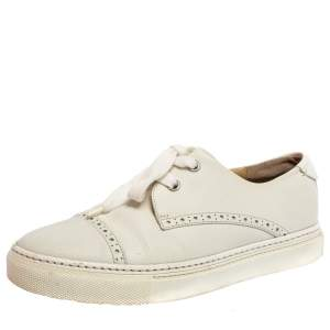 Hermes White Leather Low Top Sneakers Size 36