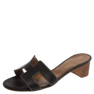 Hermes Black Leather Oran Block Heel Sandals Size 36.5