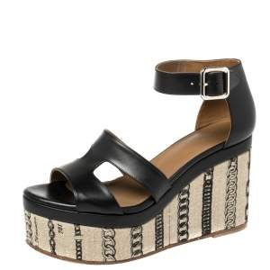 Hermes Black Leather Chain Print Wedge Sandals Size 37.5