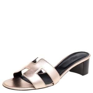 Hermes Rose Gold Leather Oasis Sandals Size 40.5
