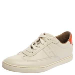 Hermes White Leather Lace Up Low Top Sneakers Size 37