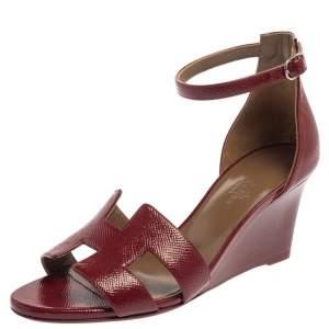 Hermes Burgundy Leather Legend Ankle Strap Wedge Sandals Size 36.5