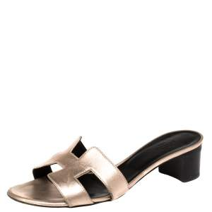 Hermes Metallic Rose Gold Leather Oasis Sandals Size 37.5