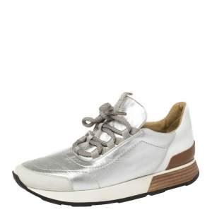 حذاء رياضى هيرمس منخفض من أعلى تريل سويدى وجلد فضى مقاس 38.5