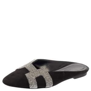 Hermes Black Suede Roxanne Flat Mules Size 37