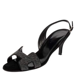 Hermes Black Suede And Glitter Night Slingback Sandals Size 37.5