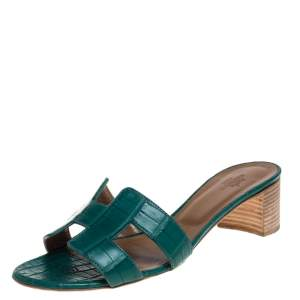 Hermes Green Alligator Leather Oasis Slides Size 37.5