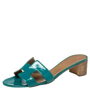 Hermes Blue Patent Leather Oasis Sandals Size 40