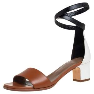 Hermes Tricolor Leather Manege Ankle Wrap Sandals Size 36