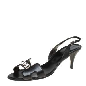 Hermes Black Leather Studded Night Slingback Sandals Size 40.5