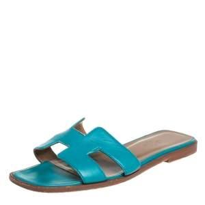 Hermes Blue Leather Oran Flat Sandals Size 37