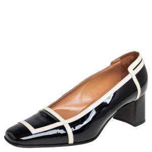 حذاء كعب عالي هيرمس جلد لامع كريمي/أسود مقدمة مربعة كعب سميك مقاس 35.5
