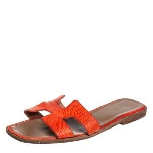 Hermes Orange Lizard Oran Slide Sandals Size 40