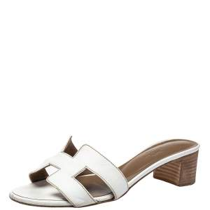 Hermés White Leather Oasis Slide Sandals Size 36