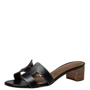 Hermes Black Leather Oasis Sandals Size 35.5