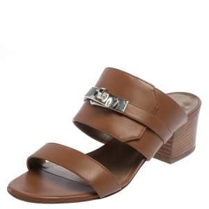 Hermes Brown Leather Avenue Slide Sandals Size 35