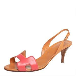 Hermés Brown/Pink Leather Night Slingback Sandals Size 40