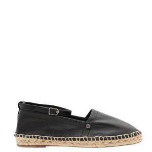 Hermes Black Leather Studded Accents Espadrilles Size 39