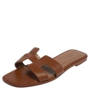 Hermes Brown Leather Oran Flat Slides Size 38