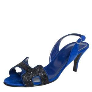 Hermes Blue Suede And Glitter Night Slingback Sandals Size 36