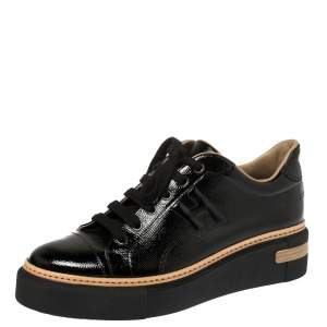 Hermés Black Patent Leather Polo Low Top Sneakers Size 39