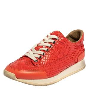 Hermès Coral Pink Python and Leather Trail Low Top Sneakers Size 36.5