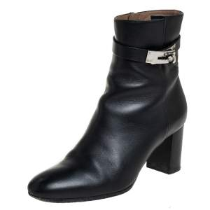 Hermes Black Leather Kelly Ankle Boots Size 37.5