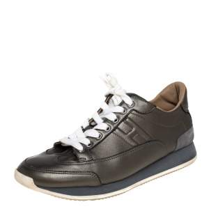 Hermes Metallic Grey Leather Trial Low Top Sneakers Size 39