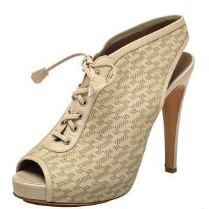 Hermes Beige Perforated Leather Garrigue Peep Toe Booties Size 40