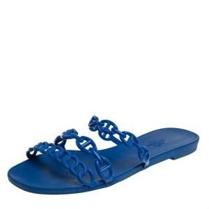 Hermés Blue Rubber Chaîne d'Ancre Rivage Flat Slides Size 37