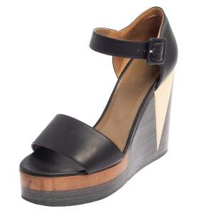Hermes Dark Brown Leather D'Orsay Wedge Sandals Size 39