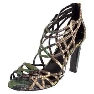 Hermes Multicolor Python Cage Open Toe Sandals Size 37