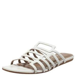 Hermés White Leather Olympe Flat Slides Size 37